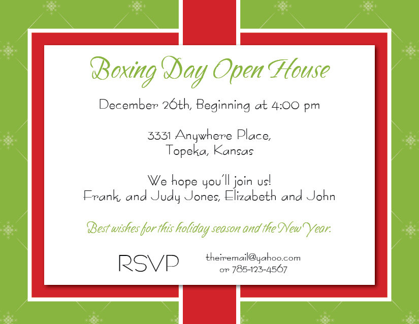 Boxing Day Party Invite – Cottonwood Whispers